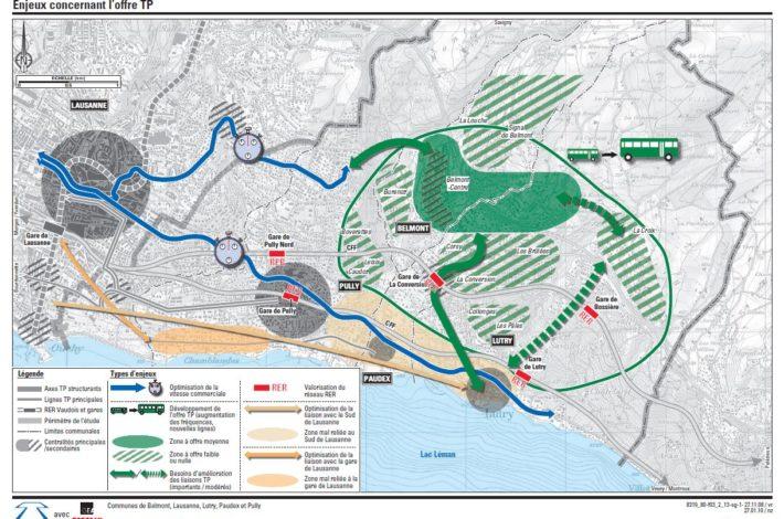 Carte des enjeux concernant l'offre en transports publics - Source : Rapport technique du SDEL